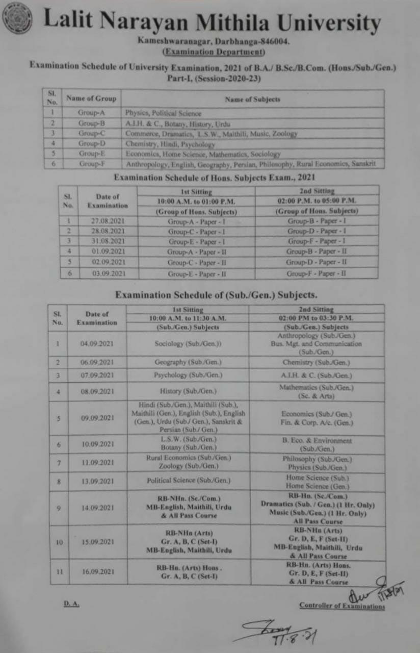 LNMU Darbhanga B.A, B.Sc, B.Com Part 1 Exam 2021 Time Table